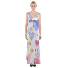 Watercolor cute hearts background Maxi Thigh Split Dress