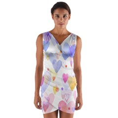 Watercolor cute hearts background Wrap Front Bodycon Dress
