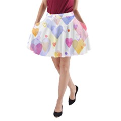 Watercolor cute hearts background A-Line Pocket Skirt