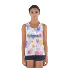 Watercolor cute hearts background Women s Sport Tank Top
