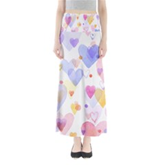 Watercolor cute hearts background Maxi Skirts