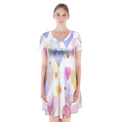 Watercolor cute hearts background Short Sleeve V-neck Flare Dress
