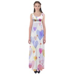 Watercolor cute hearts background Empire Waist Maxi Dress