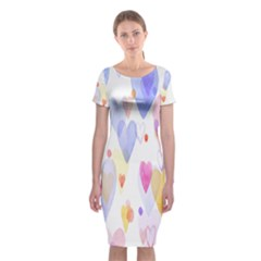 Watercolor cute hearts background Classic Short Sleeve Midi Dress