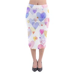 Watercolor cute hearts background Midi Pencil Skirt