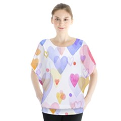 Watercolor cute hearts background Blouse