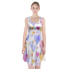 Watercolor cute hearts background Racerback Midi Dress