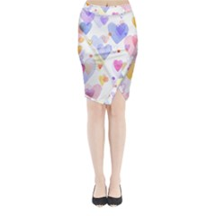 Watercolor cute hearts background Midi Wrap Pencil Skirt