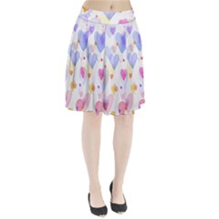 Watercolor cute hearts background Pleated Skirt