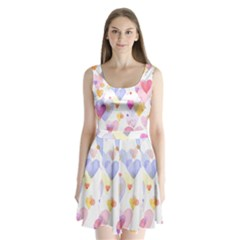 Watercolor cute hearts background Split Back Mini Dress