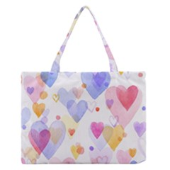 Watercolor cute hearts background Medium Zipper Tote Bag