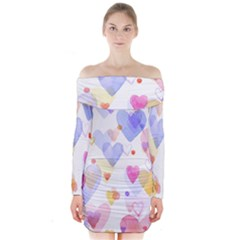 Watercolor cute hearts background Long Sleeve Off Shoulder Dress