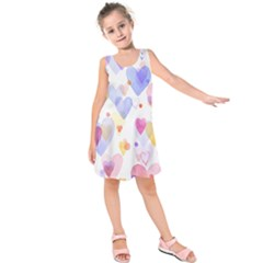 Watercolor cute hearts background Kids  Sleeveless Dress