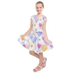 Watercolor cute hearts background Kids  Short Sleeve Dress