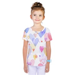 Watercolor cute hearts background Kids  One Piece Tee