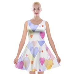 Watercolor cute hearts background Velvet Skater Dress