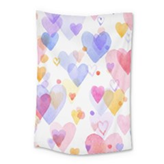 Watercolor cute hearts background Small Tapestry