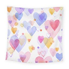 Watercolor cute hearts background Square Tapestry (Large)