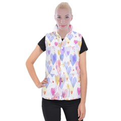 Watercolor cute hearts background Women s Button Up Puffer Vest