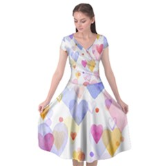 Watercolor cute hearts background Cap Sleeve Wrap Front Dress