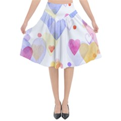 Watercolor cute hearts background Flared Midi Skirt
