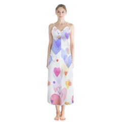 Watercolor cute hearts background Chiffon Maxi Dress