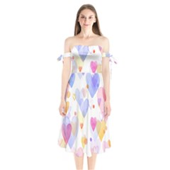 Watercolor cute hearts background Shoulder Tie Bardot Midi Dress