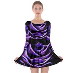 Rose Flower Design Nature Blossom Long Sleeve Skater Dress