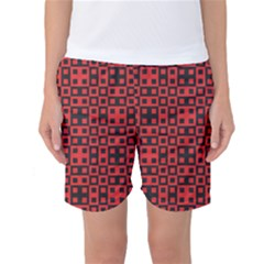 Abstract Background Red Black Women s Basketball Shorts