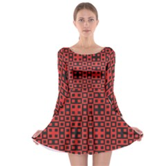 Abstract Background Red Black Long Sleeve Skater Dress