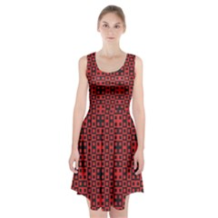 Abstract Background Red Black Racerback Midi Dress