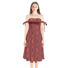 Abstract Background Red Black Shoulder Tie Bardot Midi Dress