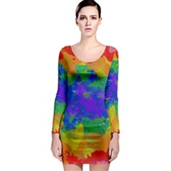 Colorful paint texture           Long Sleeve Bodycon Dress
