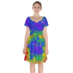 Colorful Paint Texture             Short Sleeve Bardot Dress