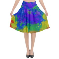 Colorful Paint Texture        Flared Midi Skirt