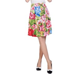 Beautiful Roses Collage A-Line Skirt