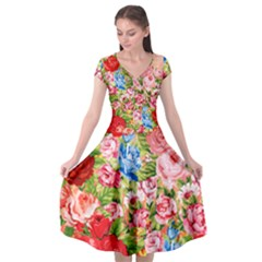 Beautiful Roses Collage Cap Sleeve Wrap Front Dress