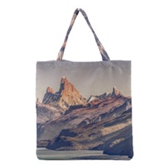 Fitz Roy And Poincenot Mountains Lake View   Patagonia Grocery Tote Bag