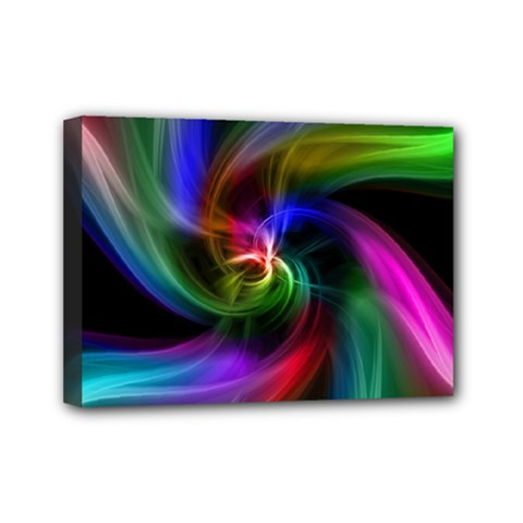 Abstract Art Color Design Lines Mini Canvas 7  x 5