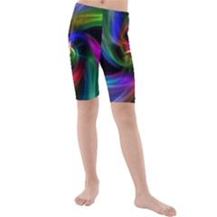 Abstract Art Color Design Lines Kids  Mid Length Swim Shorts