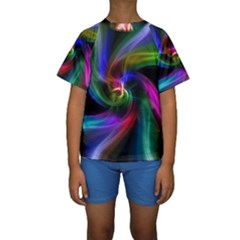 Abstract Art Color Design Lines Kids  Short Sleeve Swimwear