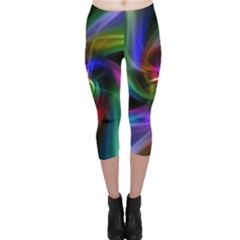 Abstract Art Color Design Lines Capri Leggings