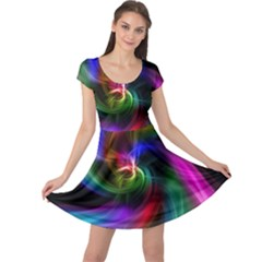 Abstract Art Color Design Lines Cap Sleeve Dresses