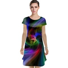 Abstract Art Color Design Lines Cap Sleeve Nightdress