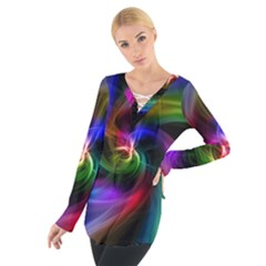 Abstract Art Color Design Lines Women s Tie Up Tee