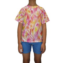 Pretty Painted Pattern Pastel Kids  Short Sleeve Swimwear