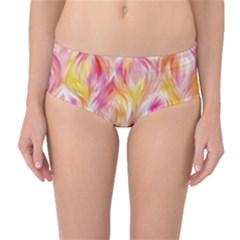 Pretty Painted Pattern Pastel Mid Waist Bikini Bottoms
