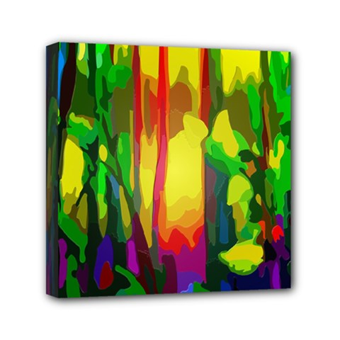 Abstract Vibrant Colour Botany Mini Canvas 6  X 6