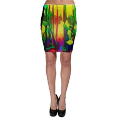 Abstract Vibrant Colour Botany Bodycon Skirt