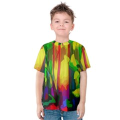 Abstract Vibrant Colour Botany Kids  Cotton Tee